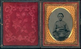 Ninth Plate Ambrotype Of Boy In Civli War Uniform