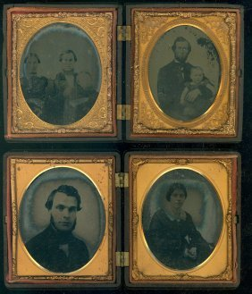 2 Double Union Cased Ambrotypes, Sixth Plate