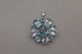 Fine London Blue Topaz Silver Pendant