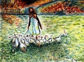 Garden With Ducks - Pastel - C. Pissarro