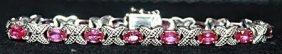 Fancy Pigeon Blood Rubies Sterling Silver Bracelet.