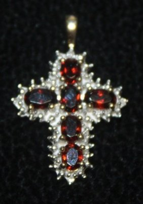 Gorgeous 14 Kt Golden Sapphire With Diamonds Cross