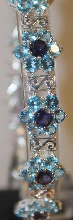 Beautiful Silver Amethyst And Topaz Bracelet