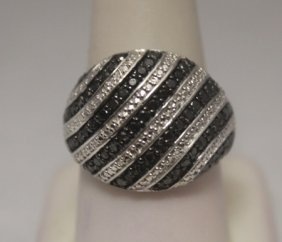 Lavish Black Diamonds Silver Band