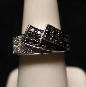 Gorgeous Black Diamonds & White Topaz Ss Ring