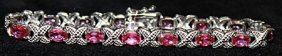 Gorgeous Pigeon Blood Rubies Sterling Silver Bracelet.
