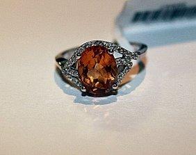 Beautiful Orange Sapphire & Diamond Ring
