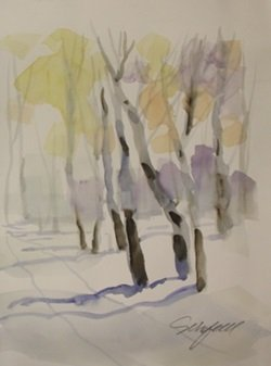 """Original Watercolor On Paper """"winters Road"""" By Michael"""
