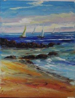 "Oil On Canvas ""sailboat Scene Ii"" After Madani"
