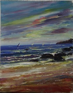 "Oil On Canvas ""sailboat Scene"" After Madani"