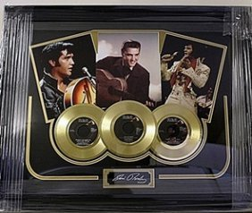 Elvis Presley Giclee With 3 Mini Gold Albums He5059
