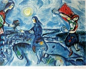 """Lithograph """"lovers Over Paris"""" After Marc Chagall"""