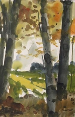 "Original Watercolor On Paper ""autumn Opening"" By"