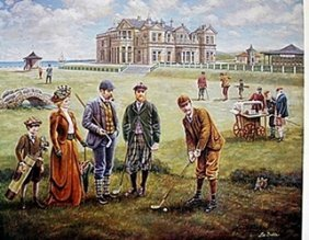 """st. Andrews Golf Course"" Lithograph; Lee Dubin"
