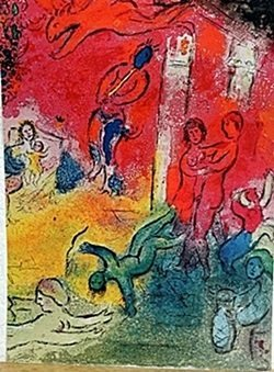 Lithograph By Marc Chagall- Temple And History Of