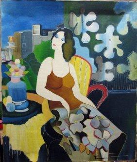 Itzchak Tarkay - Seated Woman Oil On Canvas
