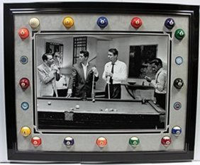 Rat Pack Giclee With Real Pool Balls And Casino Chips