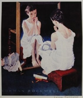 "Lithograph ""girl In Front Of Mirror"" By Norman Rockwell"