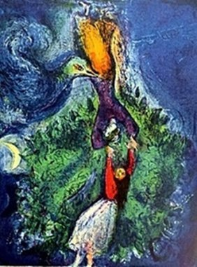 Lithograph By Marc Chagall- So She Came Down From The