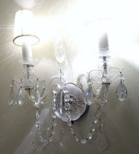 Pair Venetian Two Arm Wall Sconces W/ Beaded Shade