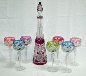 Eight Piece Venetian Glass Cordial Service