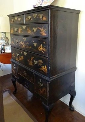 Antique Queen Anne Chinoiserie Lacquered Highboy