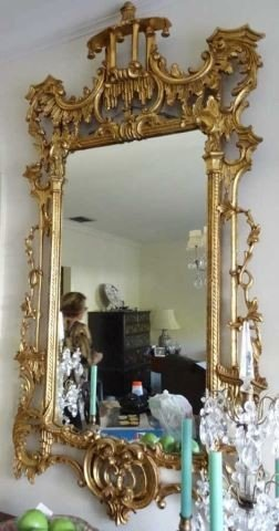Chinese Chippendale Style Gilt Console Mirror