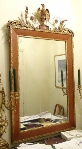 Federal Style Burl & Gilt Console Mirror