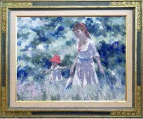Andre Gisson Painting, Mother & Child In Field