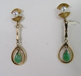 14k Yellow Gold Pearl Jade Dangle Earrings