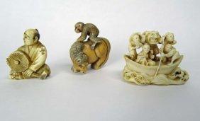 Three (3) Antique Japanese Netsukes