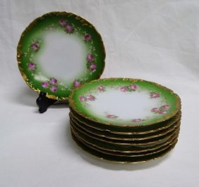 Set Of Eight Limoge Hand Painted Dessert Plates