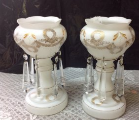 White Gold Enlaid Mantle Lusters Pair