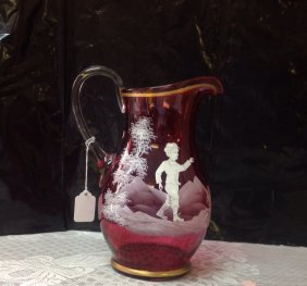 Mary Gregory Cranberry Pitcher