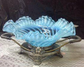 Fenton Brides Bowl With Pairpoint Holder Great