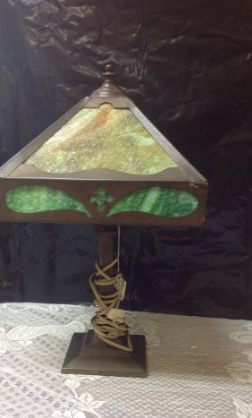 Arts And Craft Slag Glass Lamp