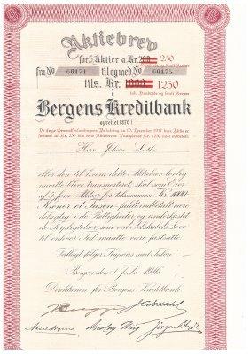 2 Stk. Aksjebrev Fra Bergens Kredittbank Pålydende