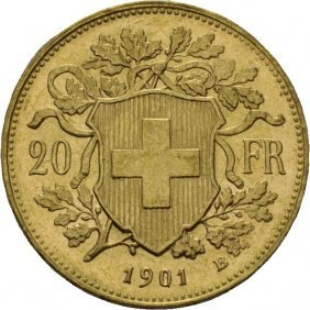 20 Franc Gull 1901 Sveits, Kv.0/01