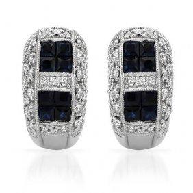 Genuine 2.04 Ctw White Diamond, Black Sapphire 18k