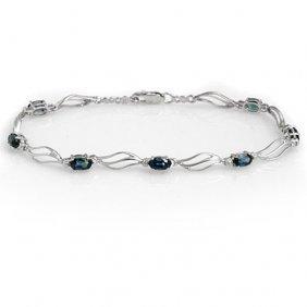 Genuine 3.02 Ctw Blue Sapphire & Diamond Bracelet 10k