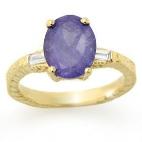 Genuine 3.70 Ctw Tanzanite & Diamond Ring 10k Yellow