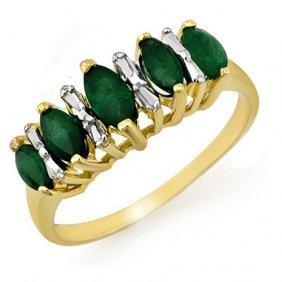 Genuine 0.70 Ctw Emerald Ring 10k Yellow Gold -