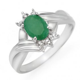 Natural 0.90 Ctw Emerald & Diamond Ring 18k White Gold