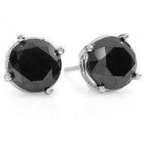 Genuine 3.0 Ctw Black Diamond Solitaire Stud Earrings