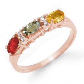 Genuine 1.10 Ctw Multi-sapphire & Diamond Ring 14k Rose