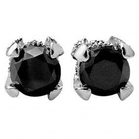 Genuine 2.0 Ctw Black & White Diamond Solitaire Stud
