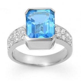 Genuine 7.26 Ctw Blue Topaz & Diamond Ring 18k White
