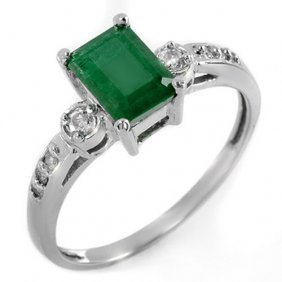 Natural 1.45 Ctw Emerald & Diamond Ring 10k White Gold