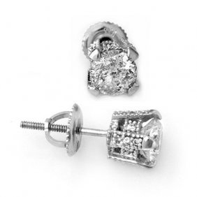 Genuine 1.0 Ctw Diamond Solitaire Stud Earrings 14k