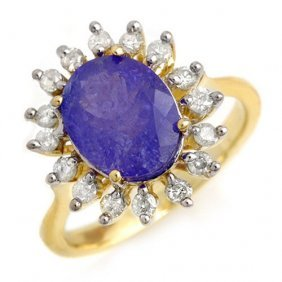 Genuine 3.05 Ctw Tanzanite & Diamond Ring 10k Yellow